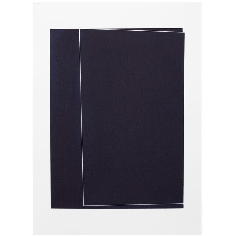 "Untitled, 2018-0903 , 2018 indigo pigment in wax on paper 30 x 22"" paper  Inquire >"