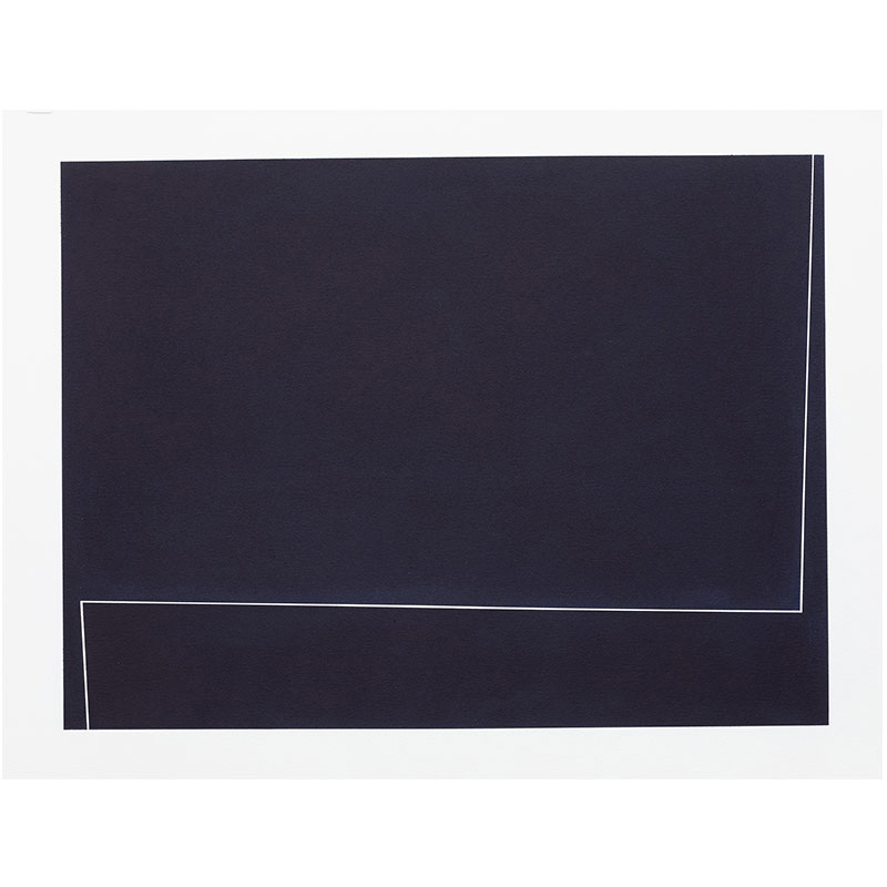 "Untitled, 2018-0913 , 2018 indigo pigment in wax on paper 22 x 30"" paper  Inquire >"