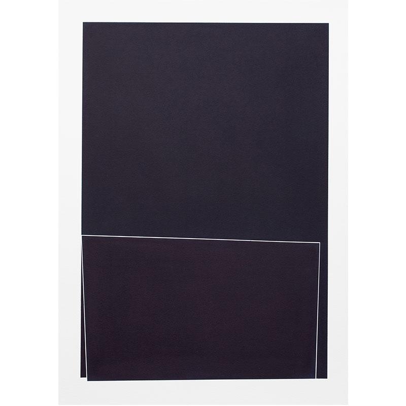 "Untitled, 2018-1010 , 2018 indigo pigment in wax on paper 41.5 x 29.5"" paper  Inquire >"