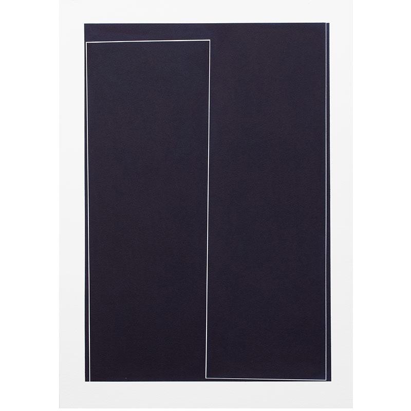 "Untitled, 2018-1015 , 2018 indigo pigment in wax on paper 41.5 x 29.5"" paper  Inquire >"