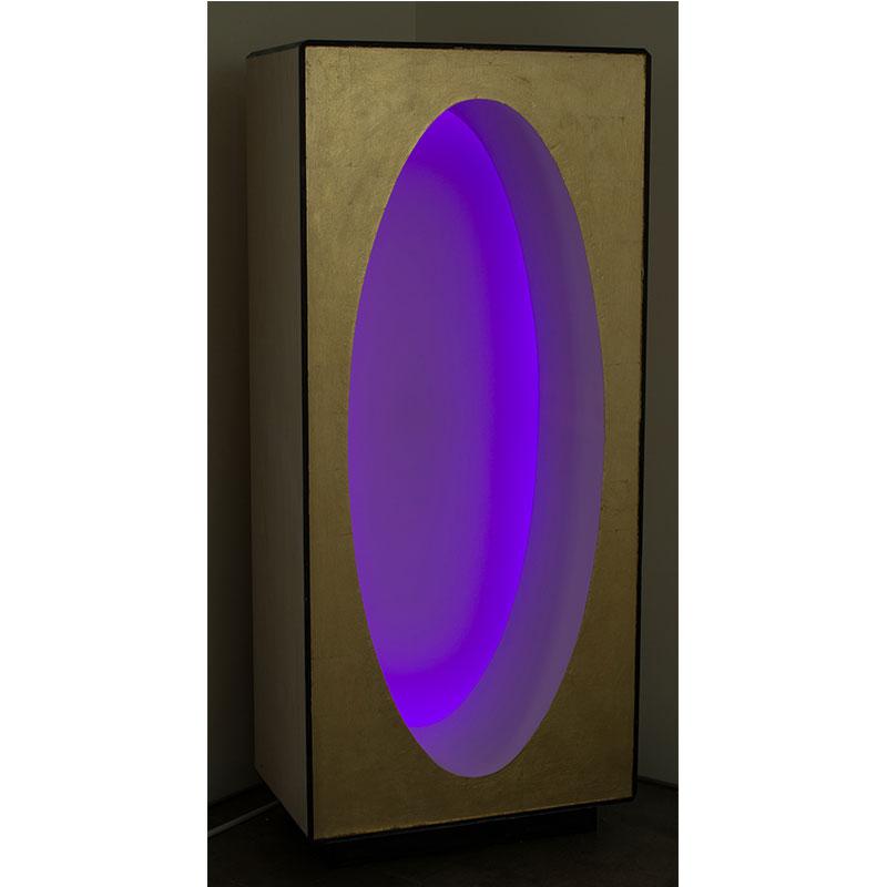 "Empty Light , 2016-17 wood, plastic, metal leaf, varnish, acrylic screen and LED lights 71 x 31 19"""