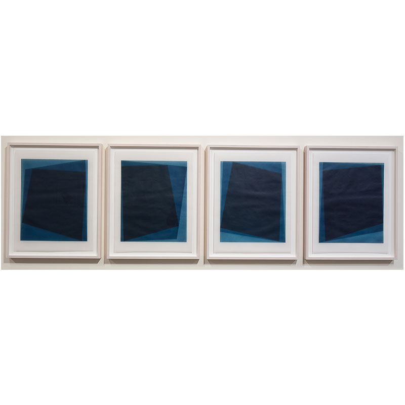 "Untitled, 2016-0117/0120 , 2016 suite of 4: indigo pigment in wax on paper 23 x 18"" paper each 26.5 x 21.5"" framed each"