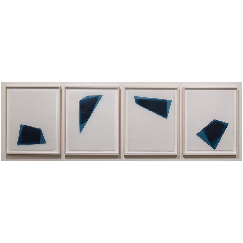"Untitled, 2016-0313/0316 , 2016 suite of 4: indigo pigment in wax on paper 23 x 18"" paper each 26.5 x 21.5"" framed each"