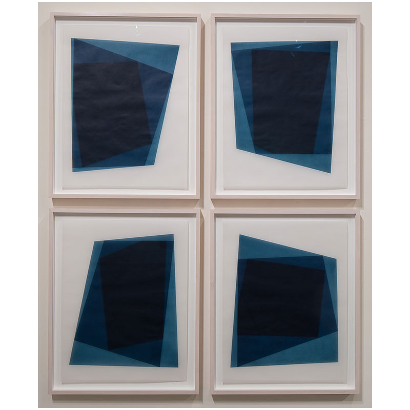 "Untitled, 2016-0706/0709 , 2016 suite of 4: indigo pigment in wax on paper 23 x 18"" paper each 26.5 x 21.5"" framed each"