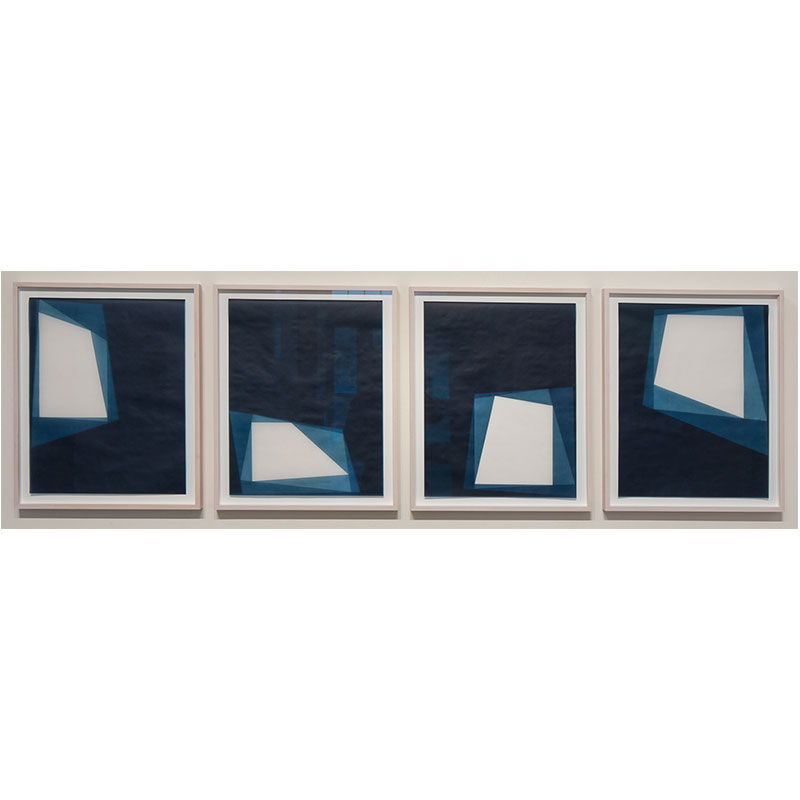 "Untitled, 2016-0801/0804 , 2016 suite of 4: indigo pigment in wax on paper 23 x 18"" paper each 26.5 x 21.5"" framed each"