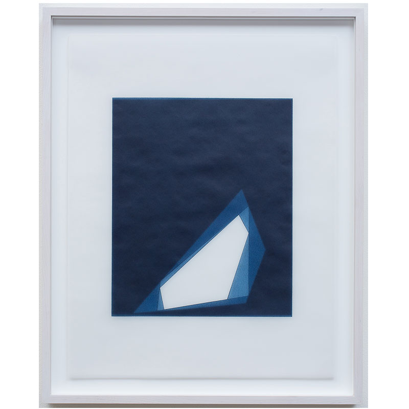 "Untitled, 2016-0409 , 2016 indigo pigment in wax on paper 23 x 18"" paper 26.5 x 21.5"" framed"