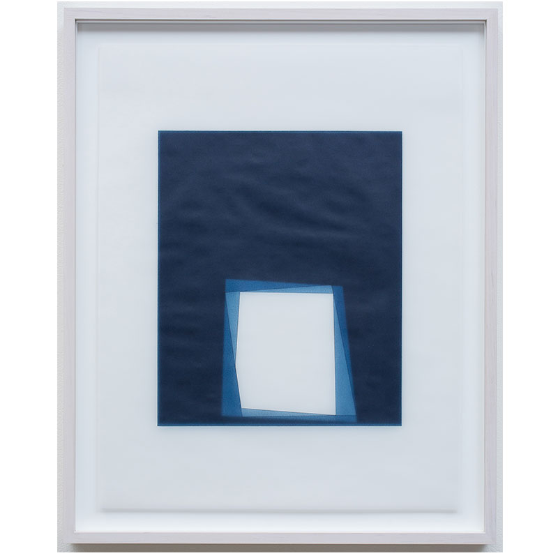 "Untitled, 2016-0411 , 2016 indigo pigment in wax on paper 23 x 18"" paper 26.5 x 21.5"" framed"