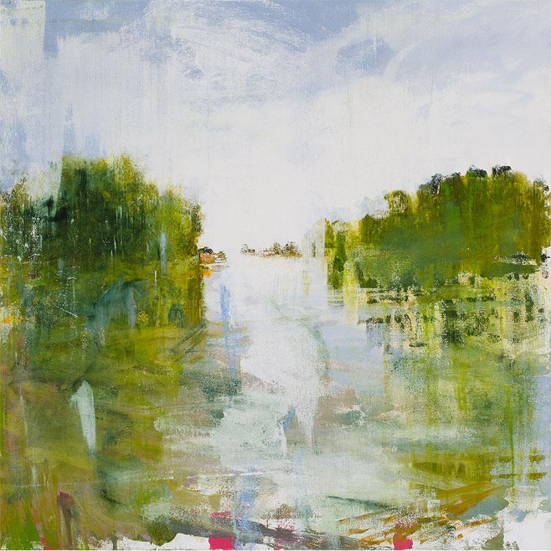 "Glide , 2015 oil on canvas over panel 30 x 30""  Inquire >"