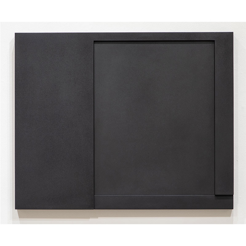 """Untitled, 2015-005 , 2015 pigment in lacquer on wood 33.5 x 41.25 x 2.25""""  Inquire >"""