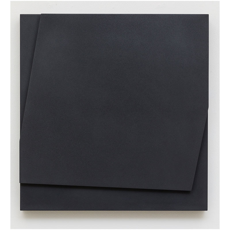 """Untitled, 2016-008, 2016 pigment in lacquer on wood 28 x 26.5 x 4""""  Inquire >"""