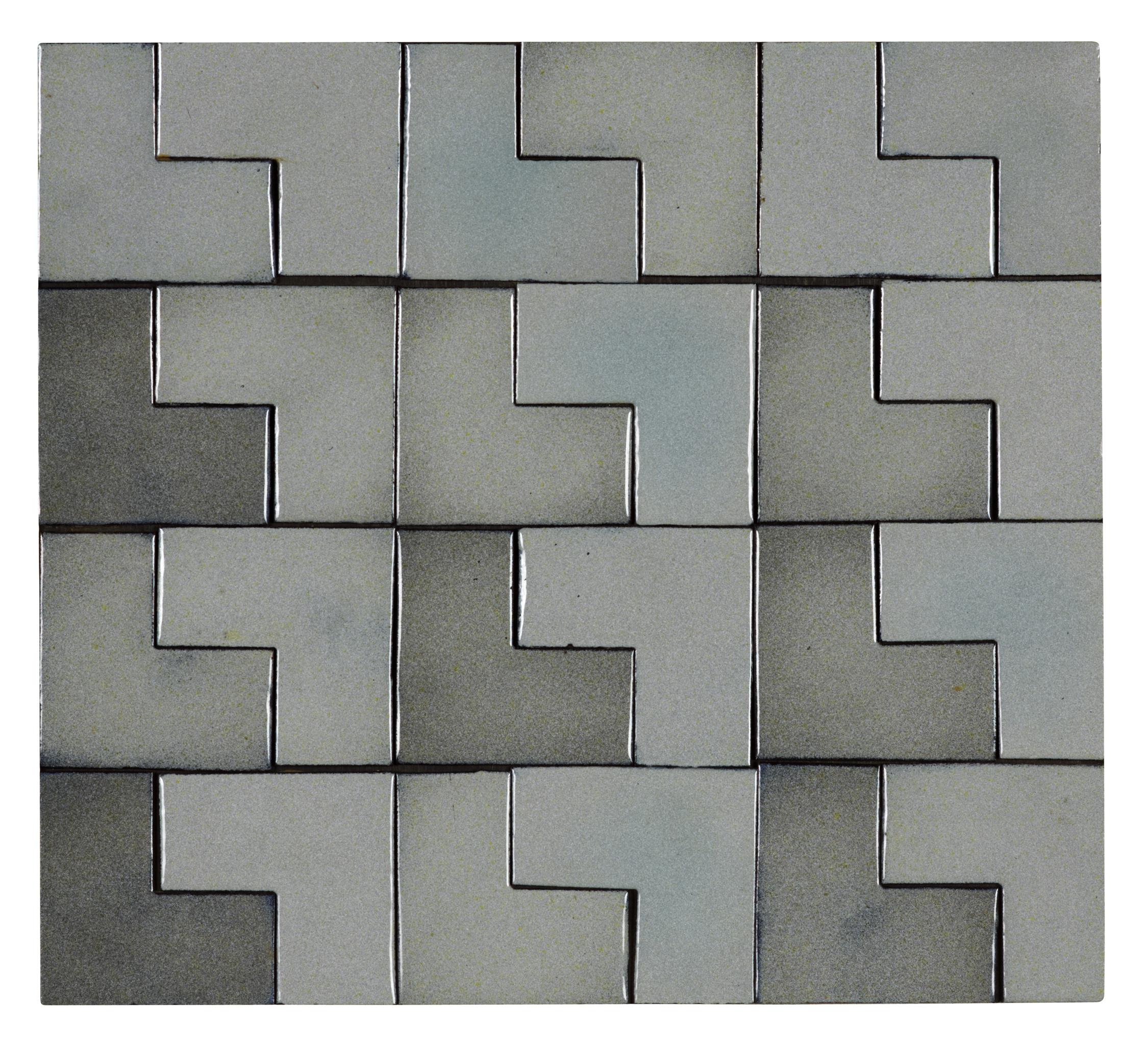 """Straight Pattern , 1979 enamel on steel 12 x 13.5"""""""