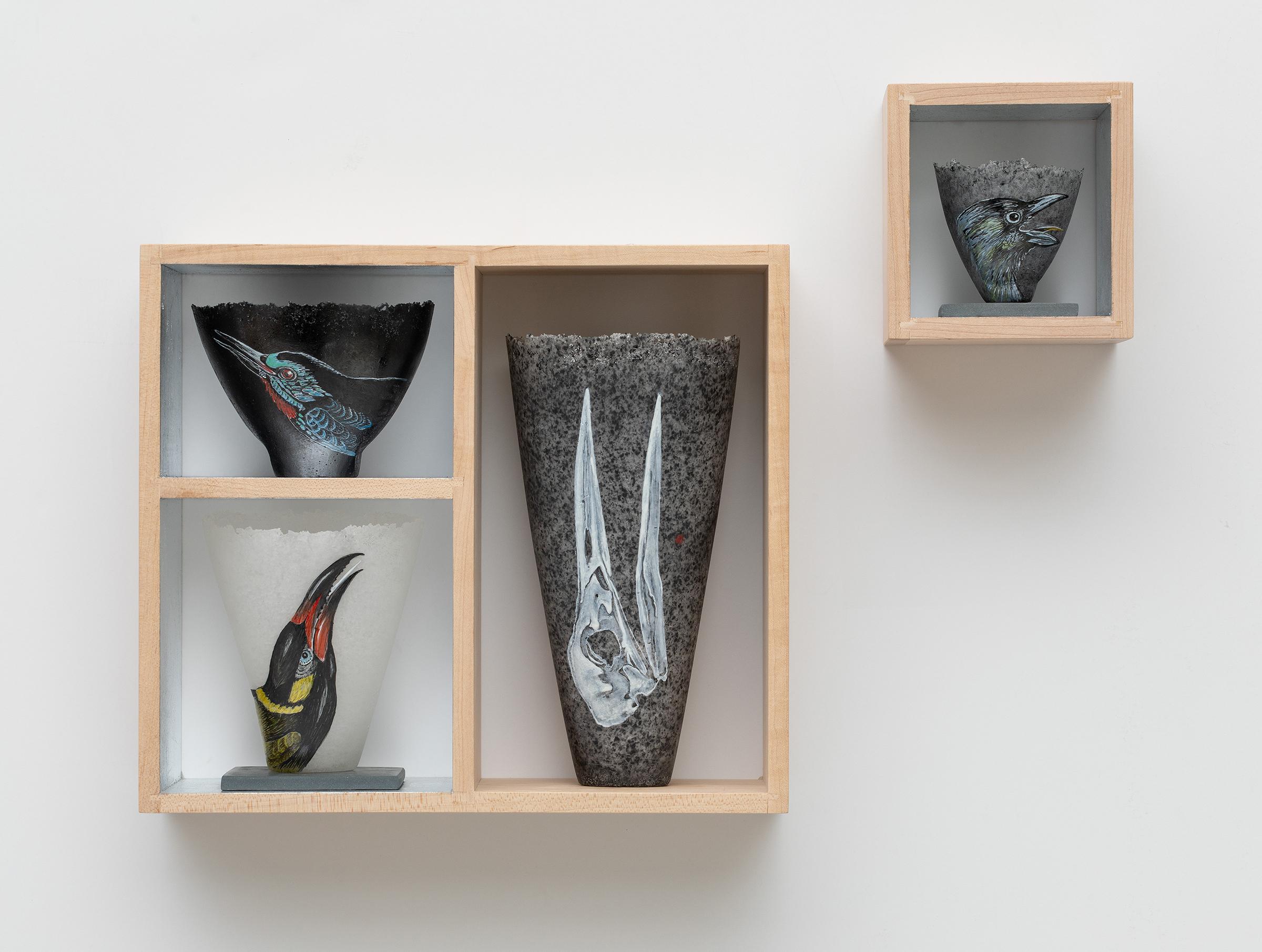 "Wailer , 2016-17 vitreous enamel on glass with wood 13.75 x 17.5 x 3.5"""