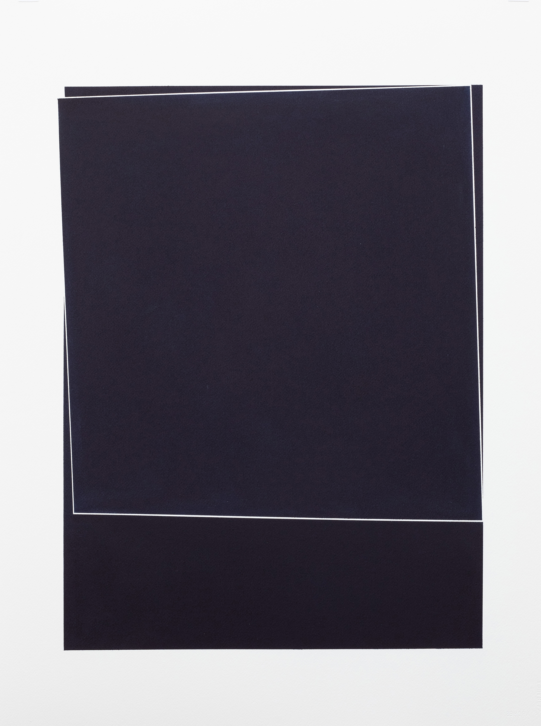 "Untitled, 2018-0901 , 2018 indigo pigment in wax on paper 30 x 22"" paper"