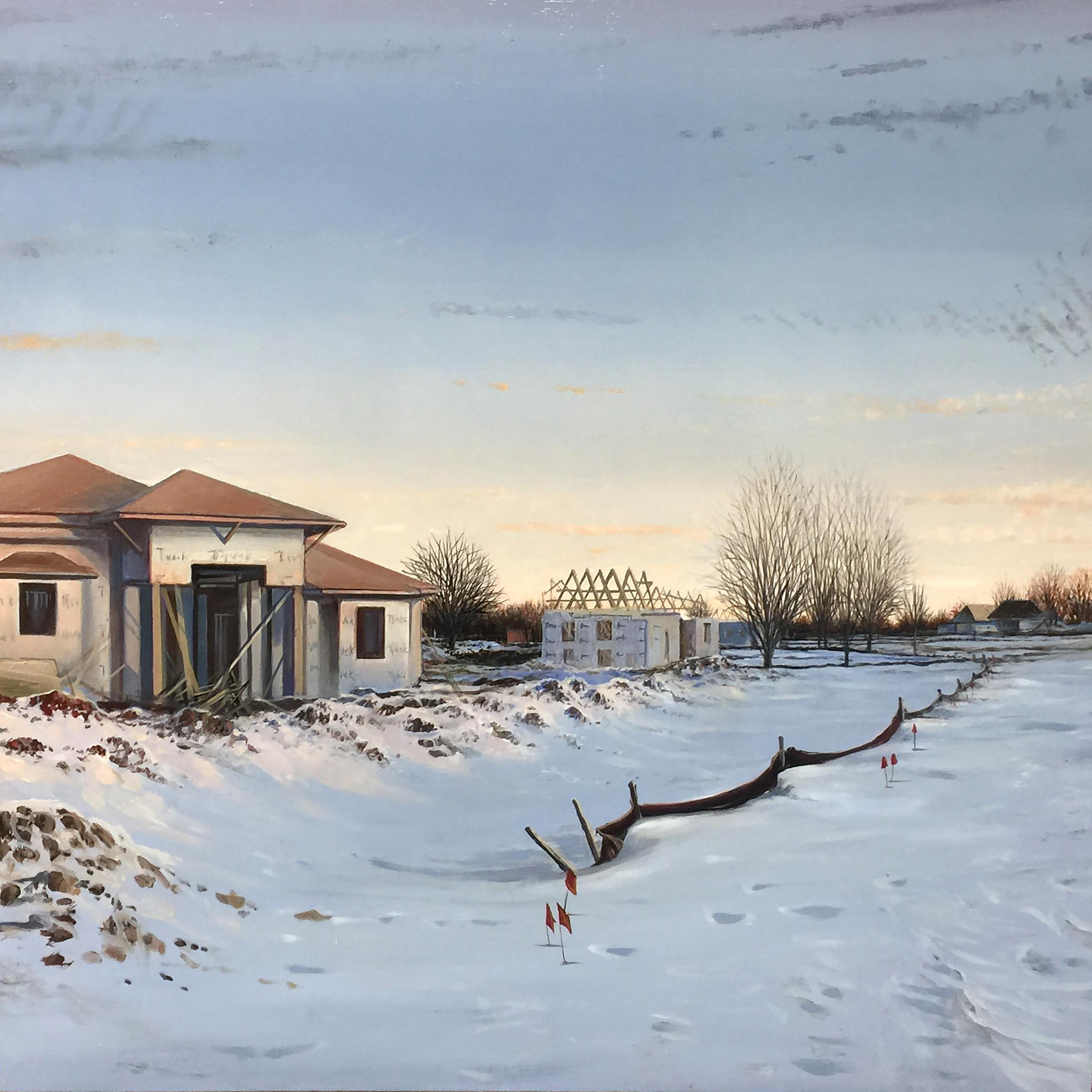 "Tyvek Landscape (in Lapis Lazuli and Tyrean Purple) , 2017 oil on panel 24 x 24"""