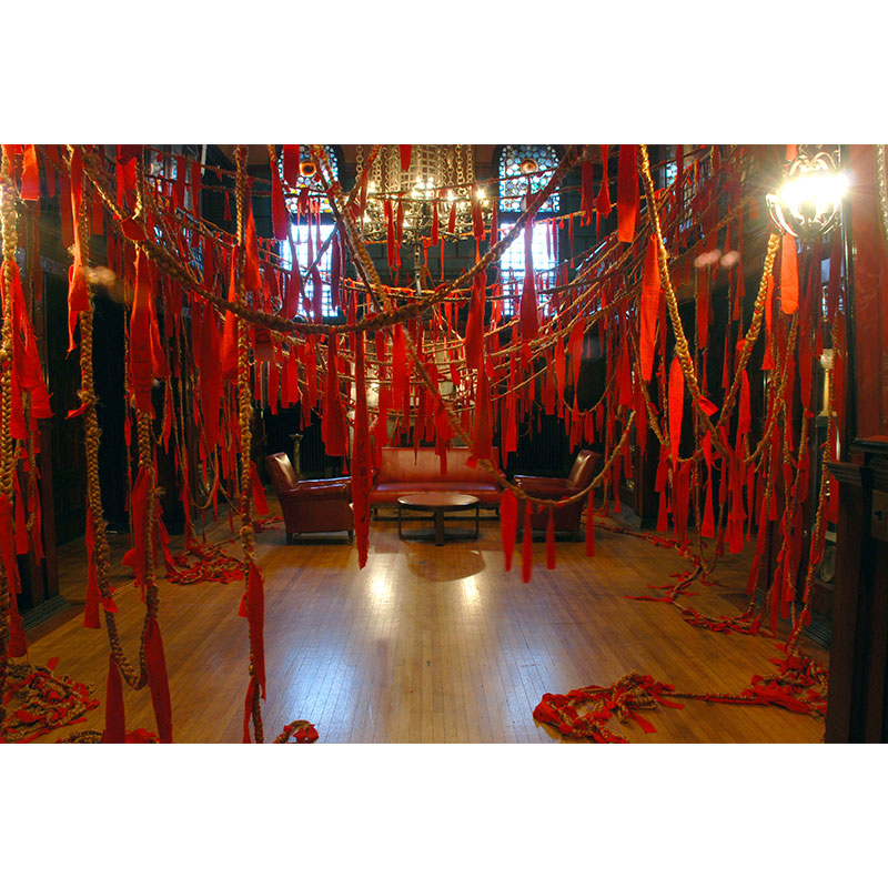 Ties of Protection and Safekeeping, Interactive Braid Project: The Armory, Whitney Biennial , 2008 Artificial hair and felt 1,800 feet long, configuration variable  Inquire >