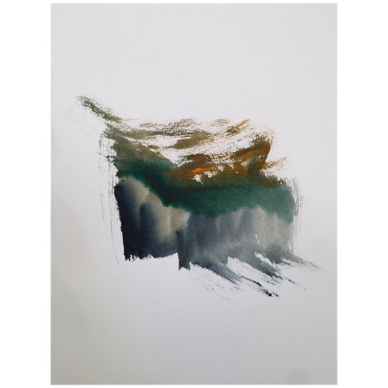 "Rain Storm , 2015 watercolor on paper 15 x 11.5"" paper  Inquire >"