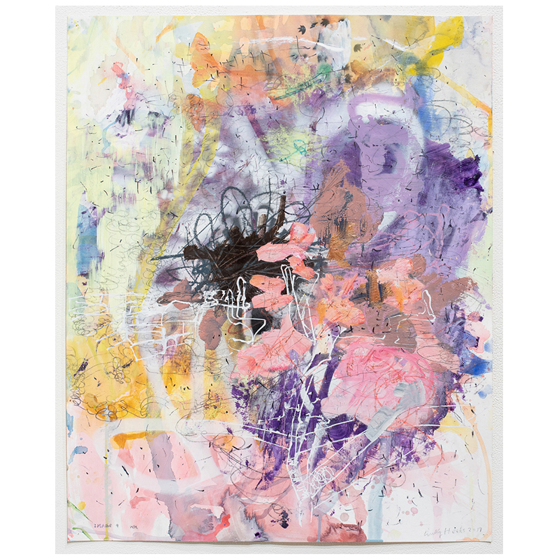 """Image 9 , 2019 mixed media on paper 27 x 22"""" paper  Inquire >"""