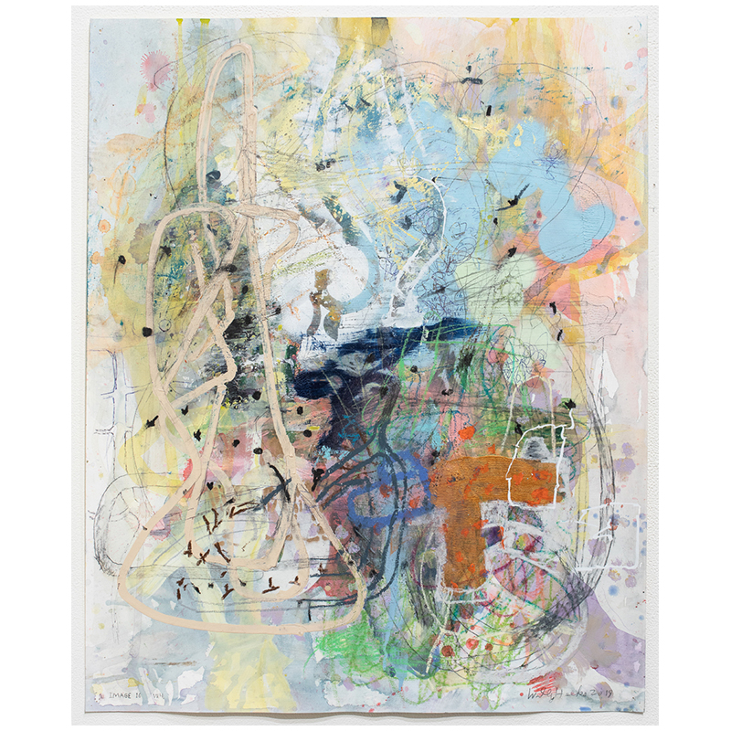 """Image 16 , 2019 mixed media on paper 27 x 22"""" paper  Inquire >"""