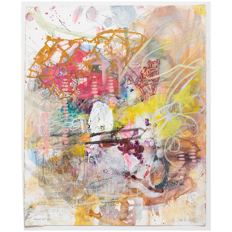 """Image 21 , 2019 mixed media on paper 27 x 22"""" paper  Inquire >"""