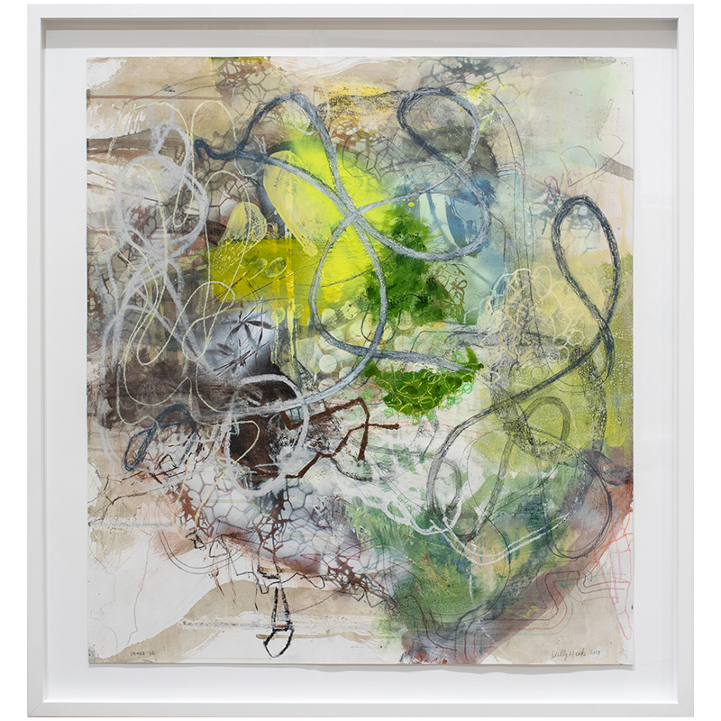 "Image 12  , 2019 mixed media on paper 33 x 30"" paper  Inquire >"