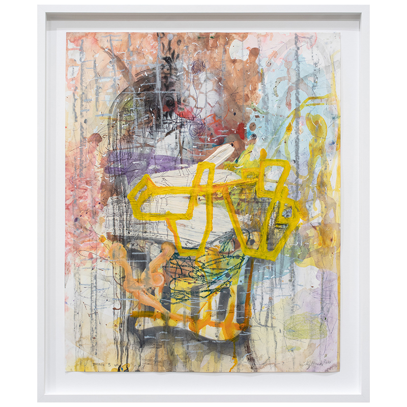 "Image 5 , 2019 mixed media on paper 27 x 22"" paper  Inquire >"
