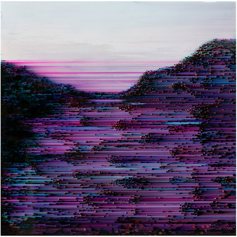 "Horizontal Gravity (Purple), 2015 ballpoint pen and resin on panel 48 x 48""  Inquire >"