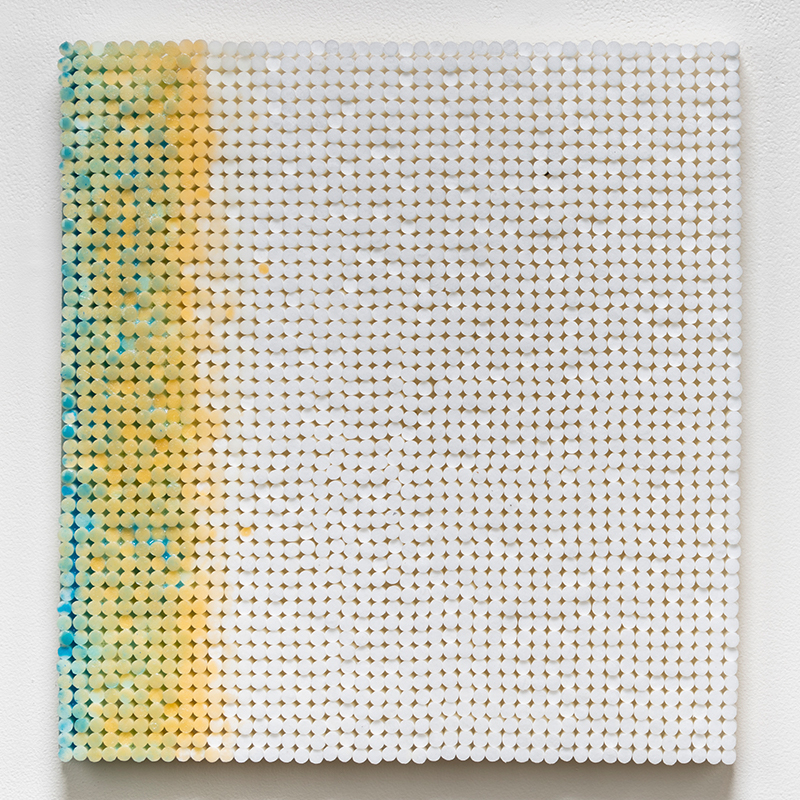 "Blue and Yellow Sidebar , 2018-19 cigarette filters, resin and ink 15 x 14.5 x 1.5""  Inquire >"