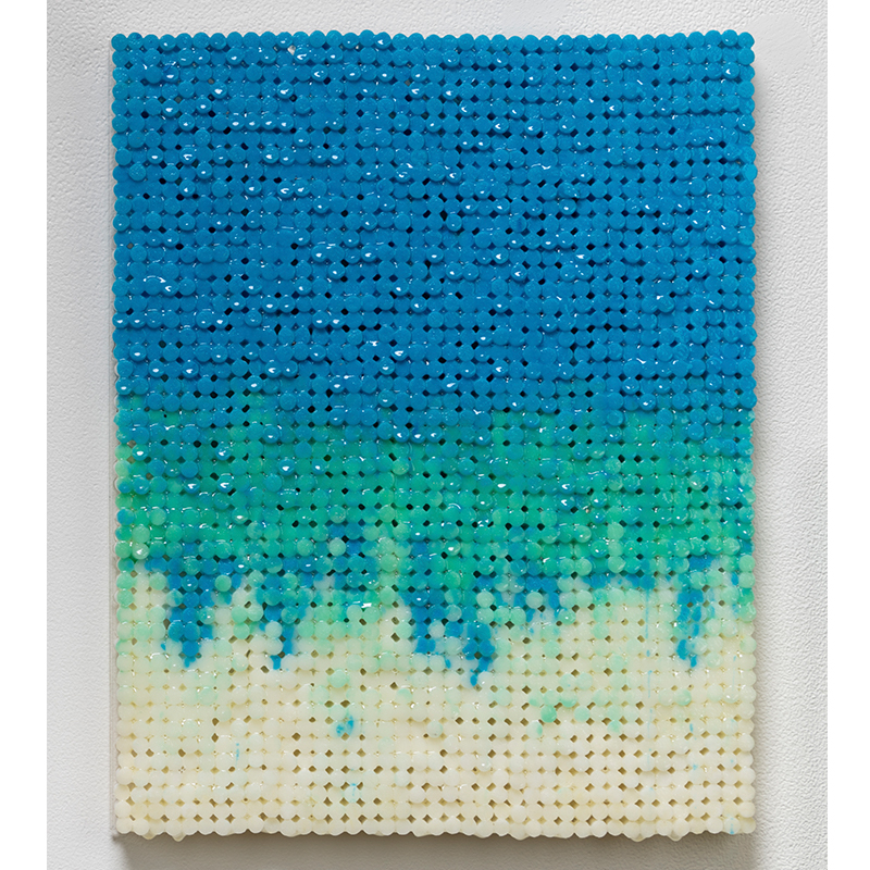 "Blue Green Drip , 2018-19 cigarette filters, resin and ink 15 x 12 x 1.5""  Inquire >"