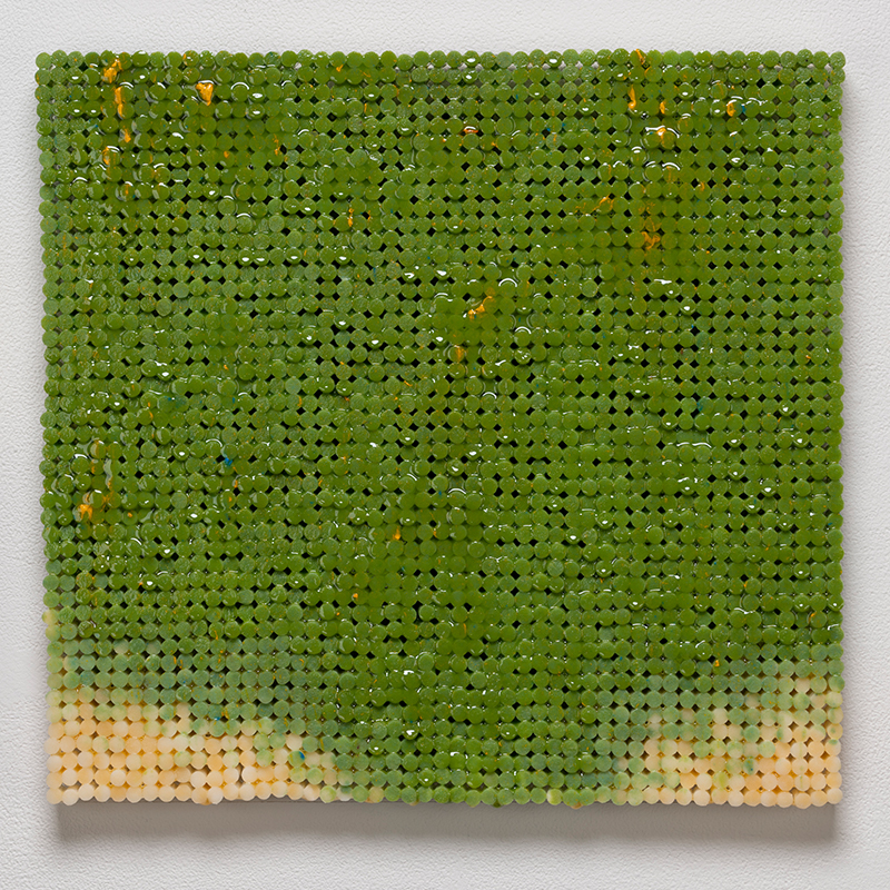 "Green Canvas , 2018-19 cigarette filters, resin and ink 15 x 15.5 x 1.5""  Inquire >"