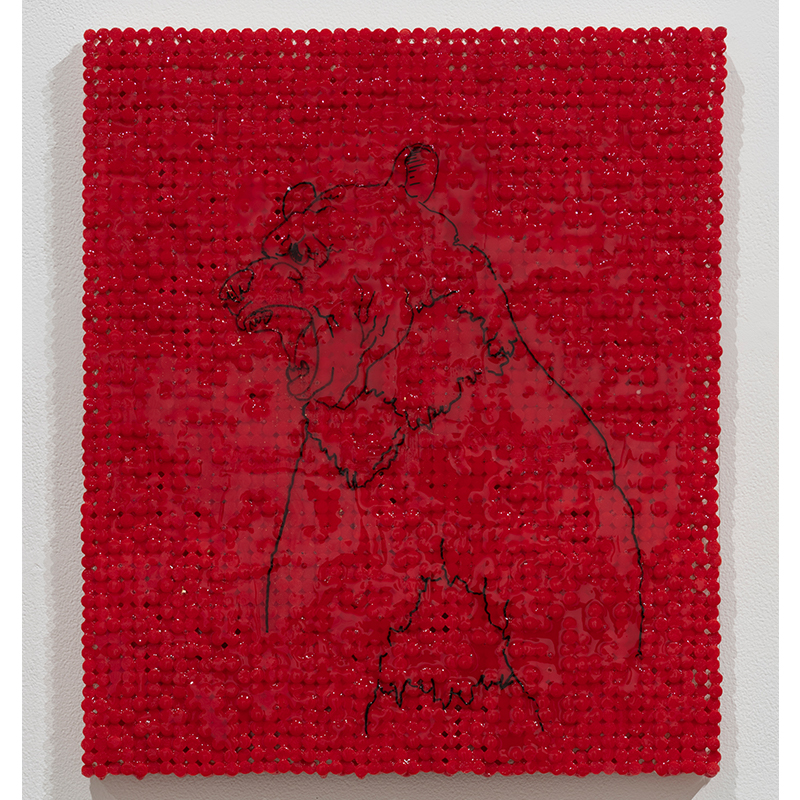 "Red Bear , 2018-19 cigarette filters, resin and ink 18 x 15.5 x 1.5""  Inquire >"