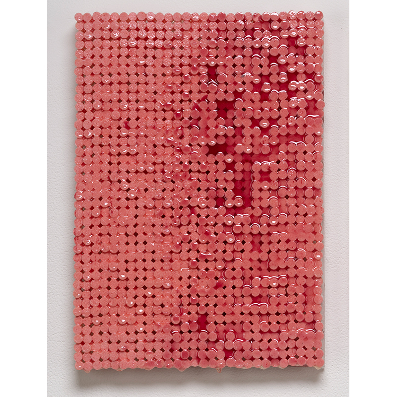 "Red on Pink , 2018-19 cigarette filters, resin and ink 13 x 9 x 1.5""  Inquire >"