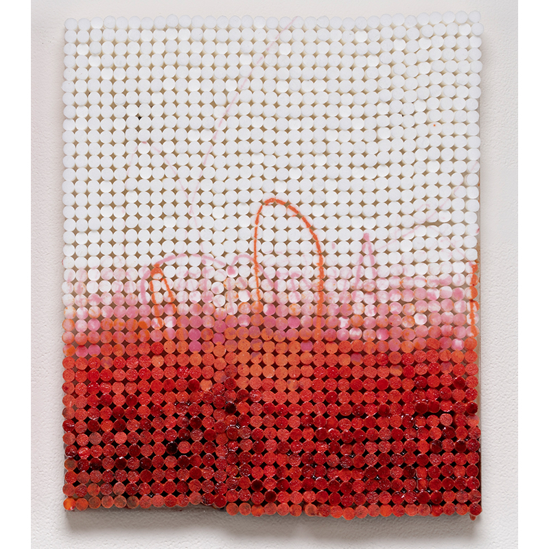 "Sunset: Red , 2018-19 cigarette filters, resin and ink 13 x 10.5 x 1.5""  Inquire >"