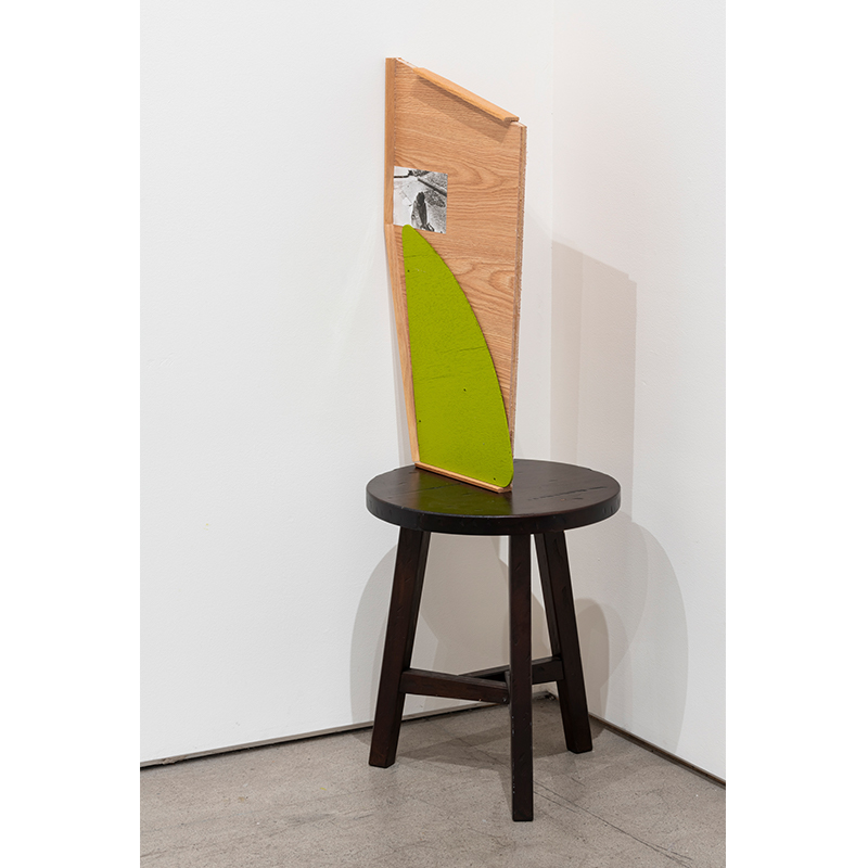 "Wall Flower , 2019 stool, found wood and photograph 42.5 x 21 x 15""  Inquire >"