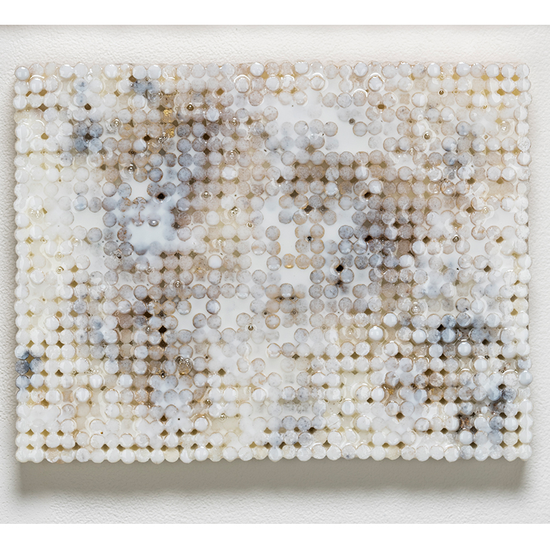 "White Gold Static , 2018-19 cigarette filters, resin and ink 8.5 x 11 x 1.5""  Inquire >  SOLD"