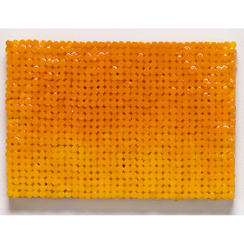 "Yellow Canvas , 2018-19 cigarette filters, resin and ink 7.75 x 11.25 x 1.5""  Inquire >"