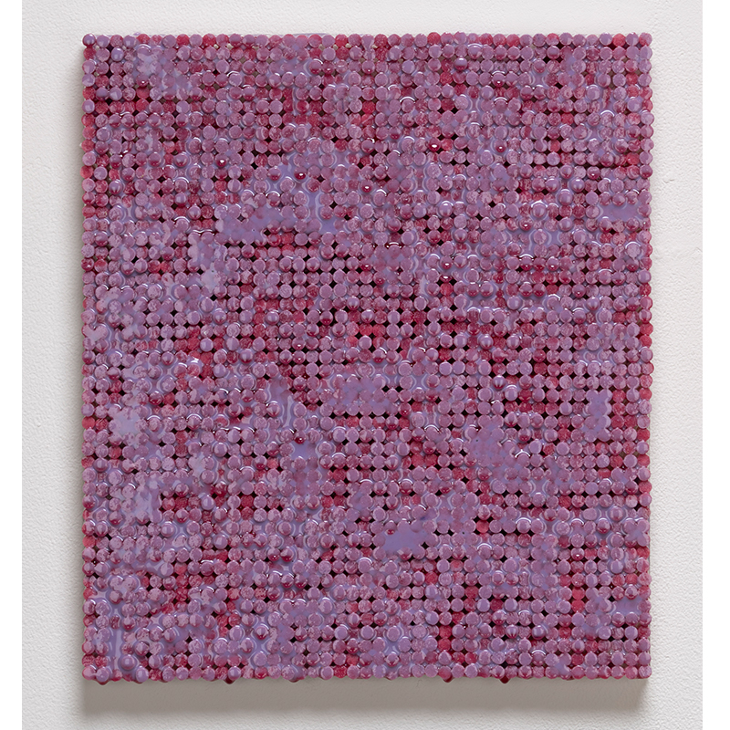 "Red and Purple Static , 2018-19 cigarette filters, resin and ink 15 x 14 x 1.5""  Inquire >"