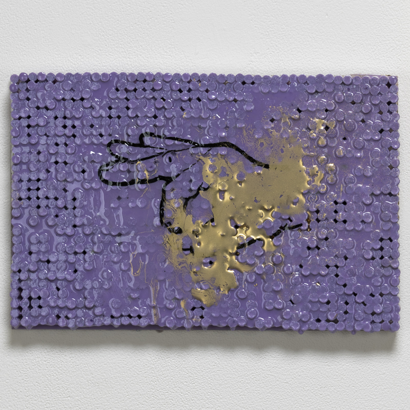 "OK Sign w/Purple and Gold , 2018-19 cigarette filters, resin and ink 9 x 14 x 1.5""  Inquire >"