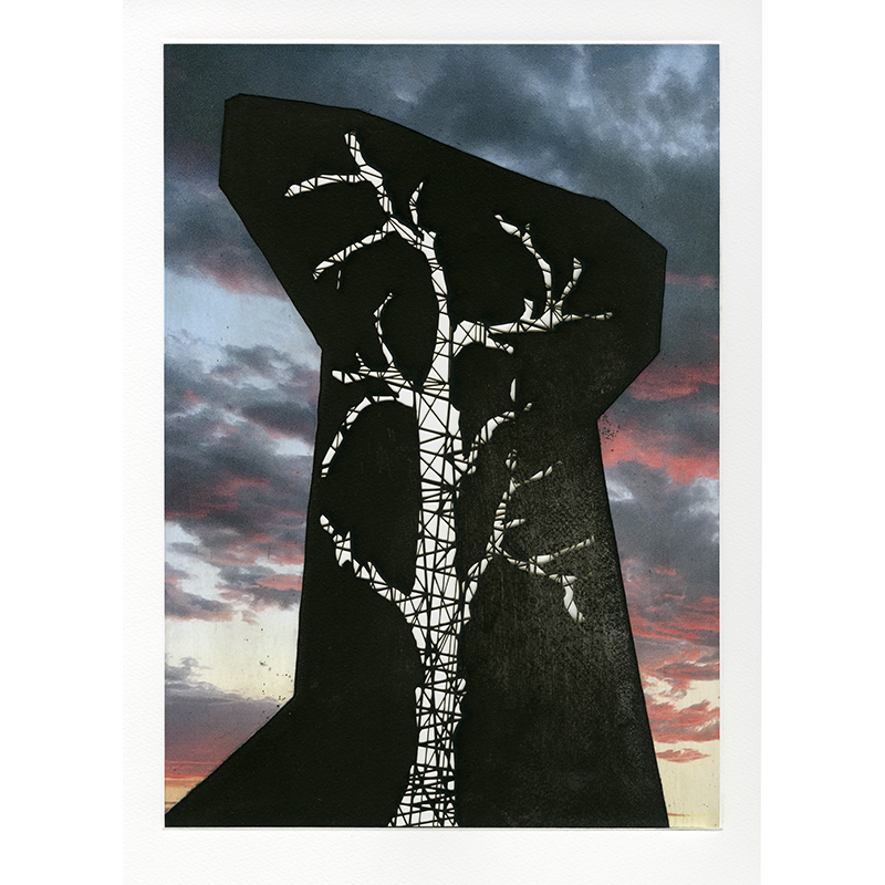 """Sunsets and Blue Skies: Hollow Monument , 2018 intaglio with pigmented inkjet chine collé and laser-engraving 20.5 x 16"""" Edition of 18  Inquire >"""