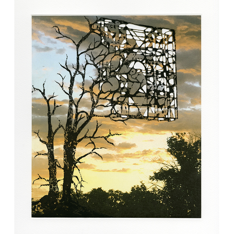 """Sunsets and Blue Skies: Shards , 2018 intaglio with pigmented inkjet chine collé and laser-engraving 18.25 x 16"""" Edition of 18  Inquire >  SOLD"""