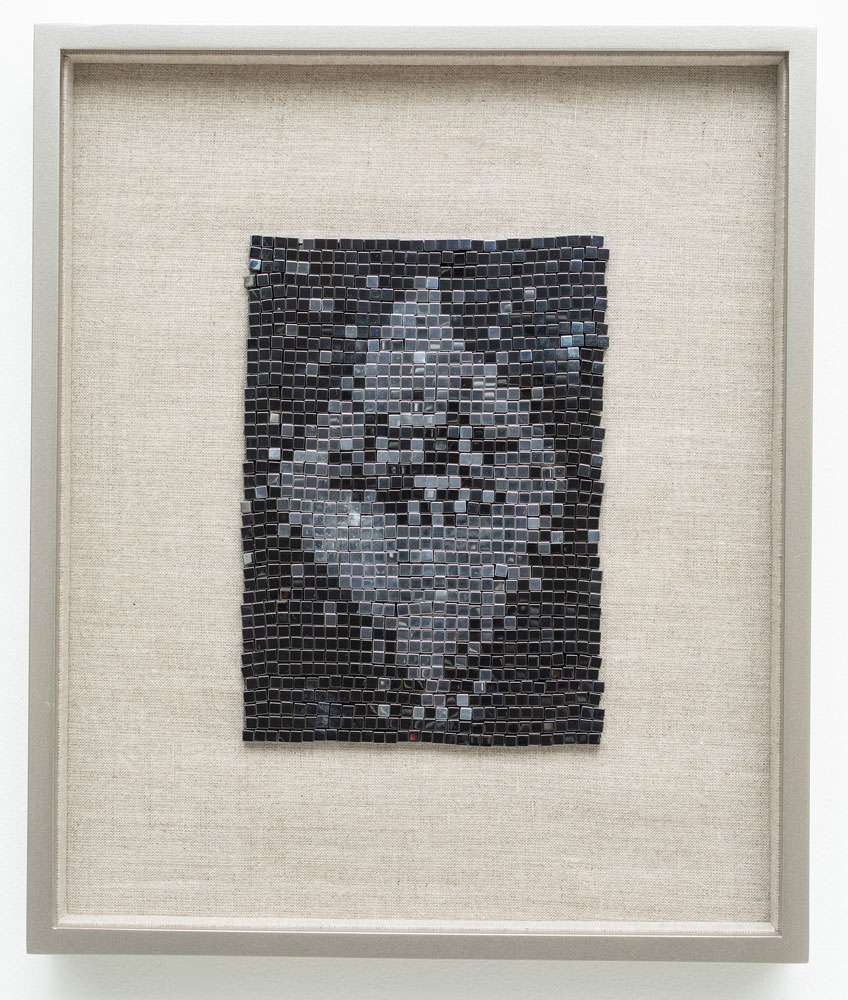Satellite of Love , 2018 steel beads on linen 13 x 10.75""