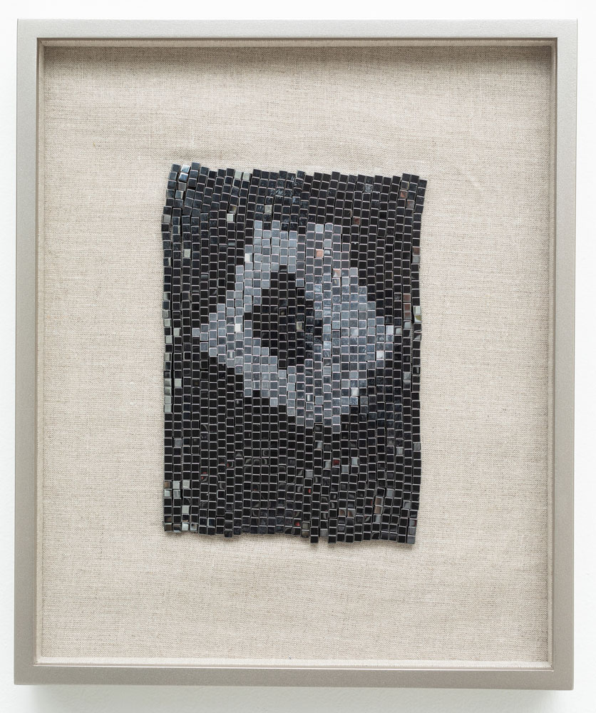 "Supermassive Black Hole , 2018 steel beads on linen 13 x 10.75"" framed"