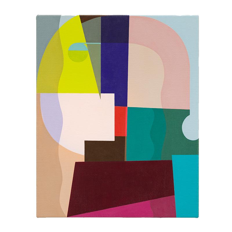 "Mr. P , 2018 acrylic on linen over panel 15 x 12""  Inquire >"