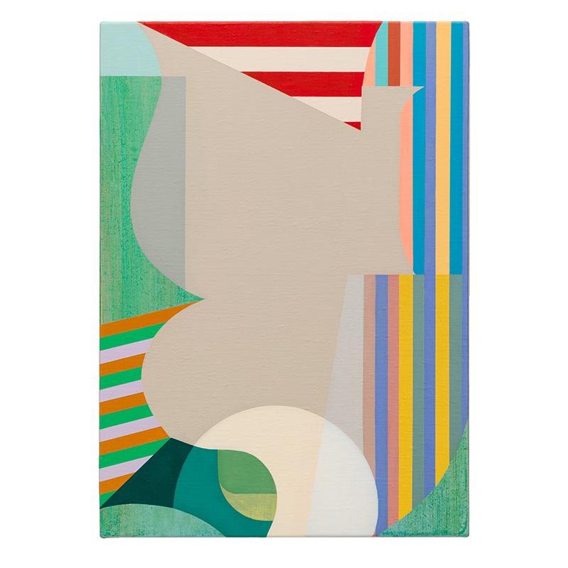 "Monogram 2 , 2019 acrylic on linen over panel 19.5 x 14""  Inquire >"
