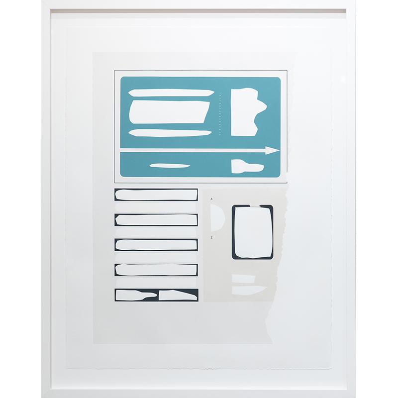 "Frame 3 [aqua] , 2019 serigraph 28 x 22"" paper Edition of 12  Inquire >"