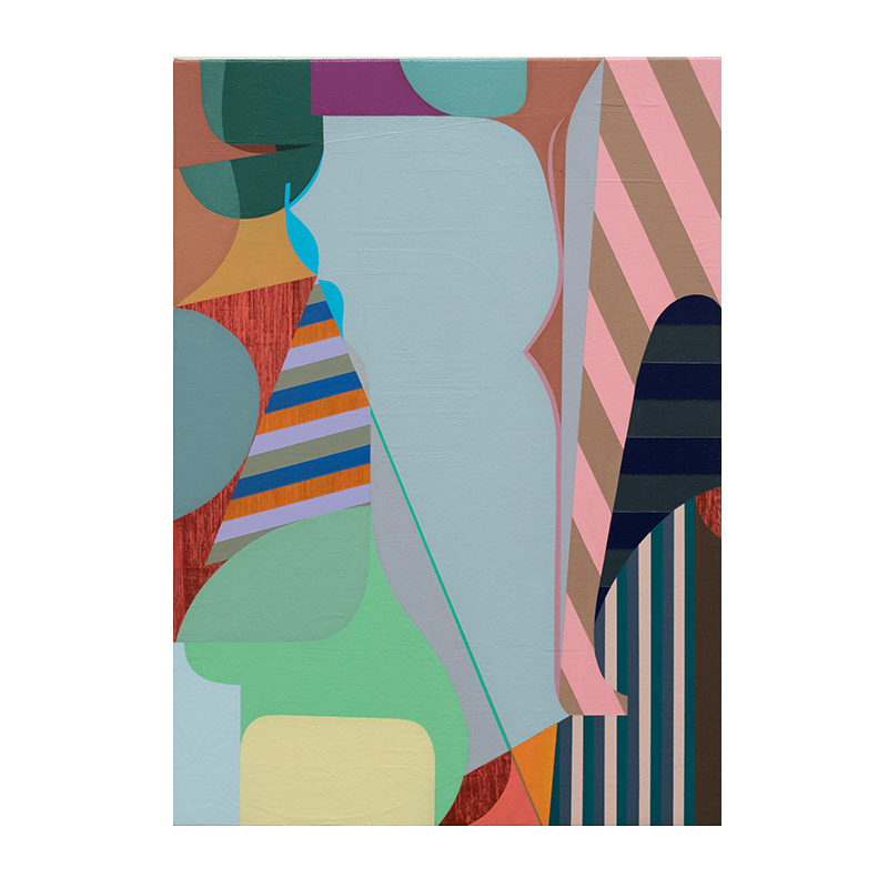 "Monogram 3 , 2019 acrylic on linen over panel 19.5 x 14""  Inquire >"
