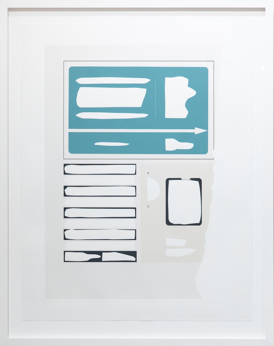 "Frame 3 [aqua] , 2019 serigraph 28 x 22"" paper Edition of 12"