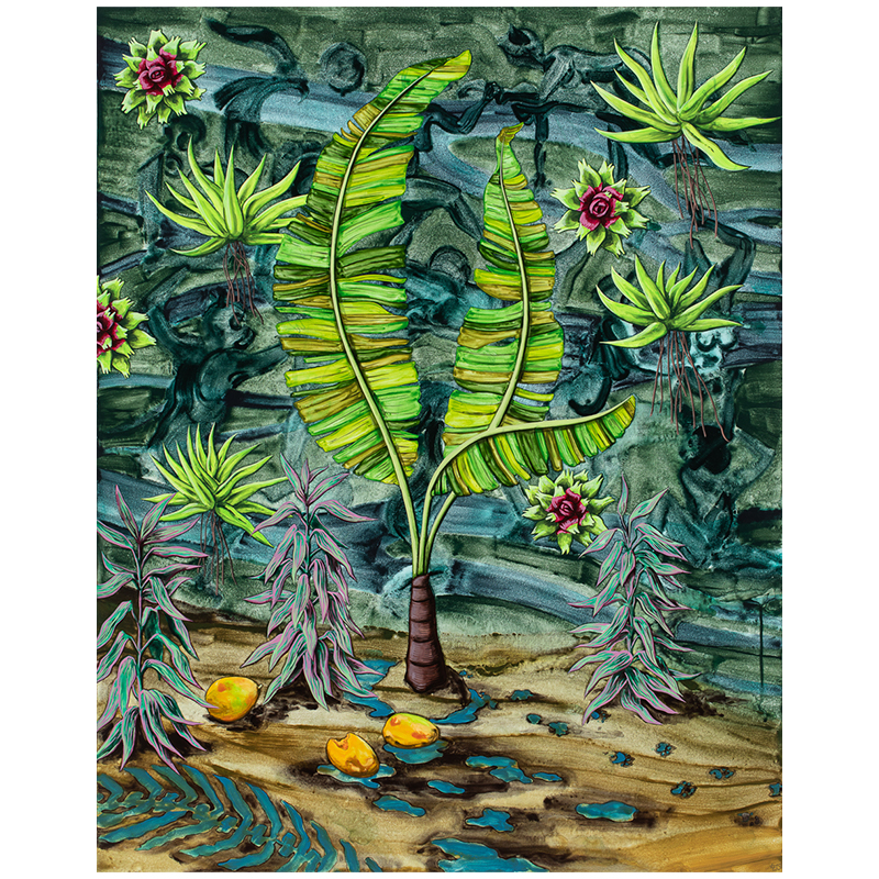 """Jungle Waypoint , 2019 Flashe on canvas over panel 40 x 32""""  Inquire >"""
