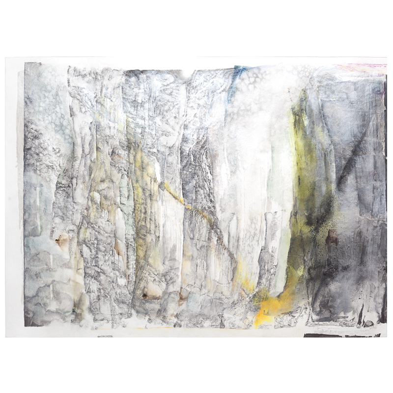 "Lamina , 2017 graphite, silver sumi ink, watercolor, pastel, and colored pencil on paper 22 x 30"" paper  Inquire >  SOLD"