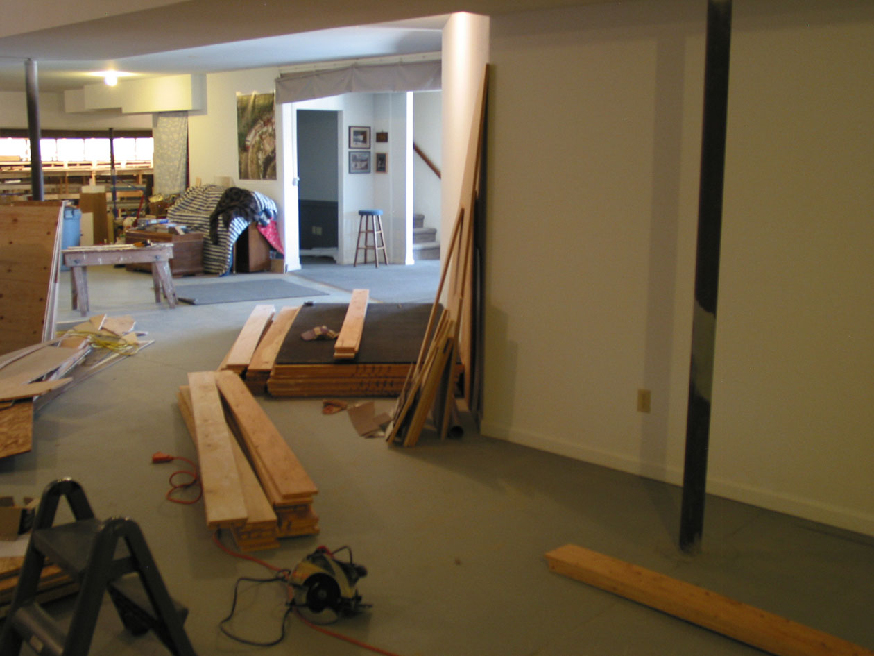 Phase 6 began in March, 2012, at the other end of the basement. The photo is looking back to the phase 2, Millport end of the basement, some 80' away.