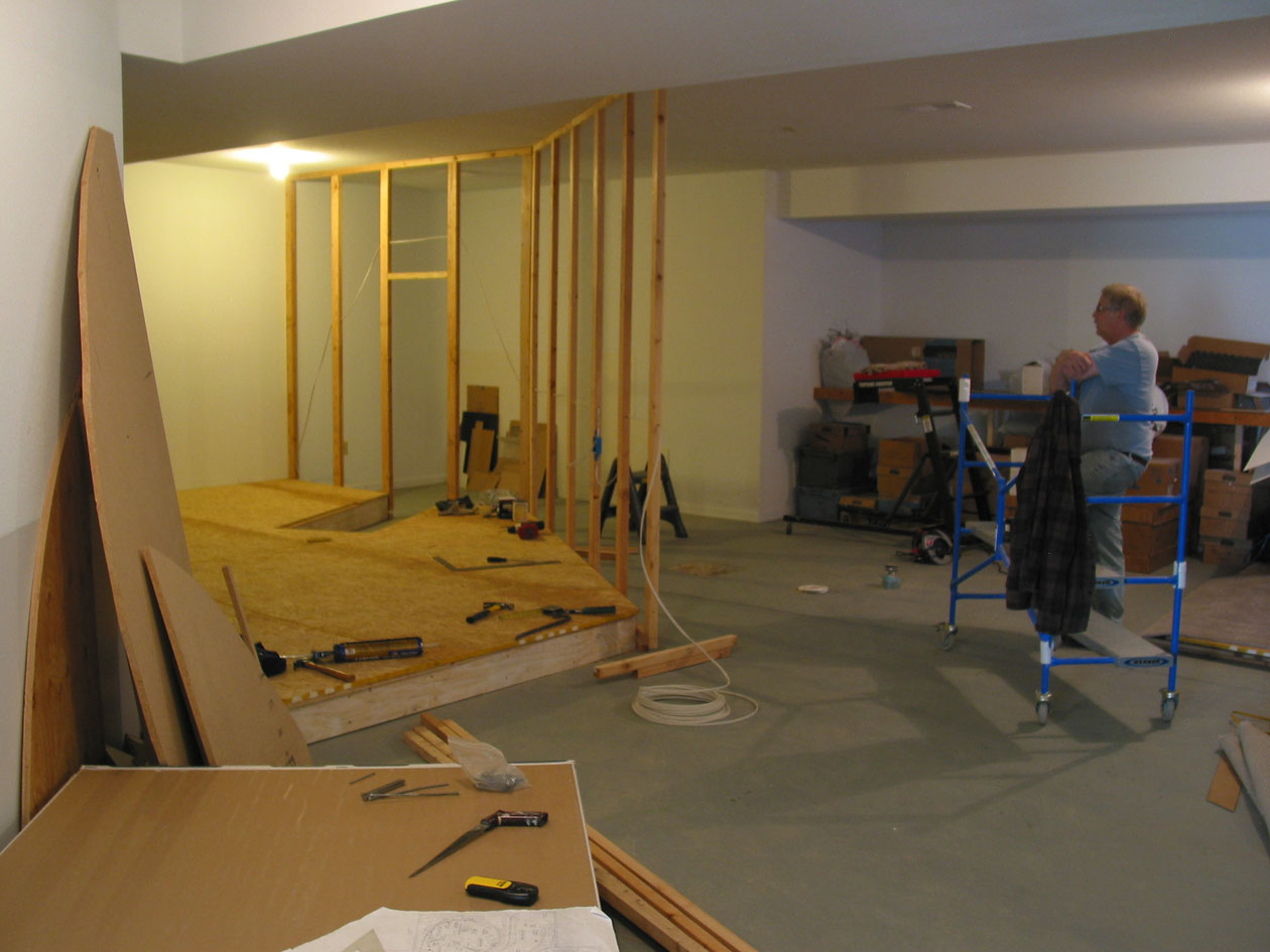 Bill Wood's former days as a house framer came in handy as we began to add the interior walls on 2.0. The open space of the basement was about to disappear.